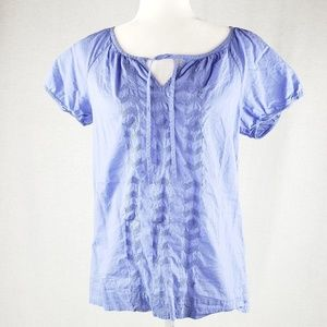 Ann Taylor LOFT breezy embroidered blouse S